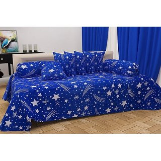 SHAKRIN Polycotton 3D Printed Diwan Set of 8 Pcs (1 Single Bedsheet with 2 Bolsters Covers & 5 Cushion Covers) Blue Star