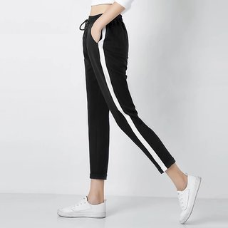 Women's Drawstring White Single Side Stripe Stretchable Black Pocket Jegging/ Yoga Wear /Gym Wear /Sport's Wear