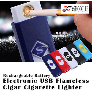 ESHOPGLEE Rechargeable USB Flameless, Windproof, Electronic Cigarete Lighter FREE PLAYING CARDS