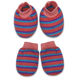 Tumble Pink Stripe Print Mittens and Booties set - 0 to 6 Months