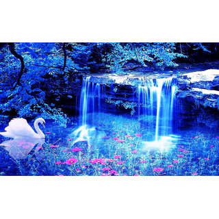 Nature Beautiful -Waterfalls Night- FULL HD-Wallpaper Sticker (Size 12 X 18 Inch)