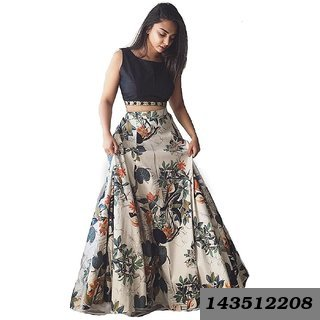 Black White Crepe Printed Semi Stitched Lehenga  at Shopclues ₹ 369