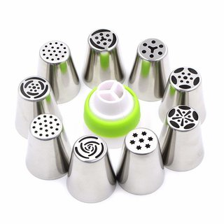 Way Beyond Stainless Steel Icing Nozzles with 1 Coupler for Decorating Cupcake Pastries Desserts Tarts Pie-set of 9