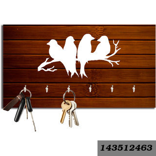 Birds Brown Wood Key Holder 6 Hooks (23.4 Cm x 12.8 Cm x 3Cm)
