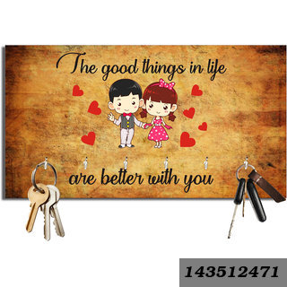Good Things In Life Are Better With You Valentines Day Wooden Key Holder(23.4Cmx12.8Cmx3Cm)