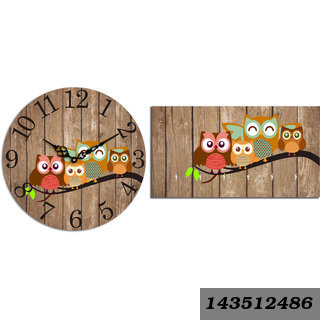 Combo Of Vinatge Style Owl Wooden Wall Clock (29cmx29cmx3cm) & Key Holder (23.4cmx12.8cmx3cm)