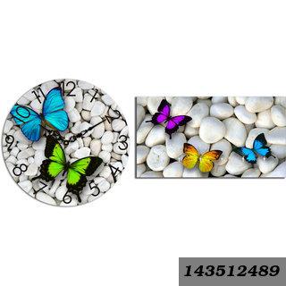 Combo Of Butterfly Wooden Wall Clock (29cmx29cmx3cm) & Key Holder (23.4cmx12.8cmx3cm)
