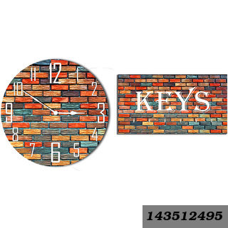Combo Of Brick Texture Wooden Wall Clock & Key Holder
