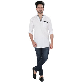 SG DESIGNER Casual White Cotton Kurta For Mens