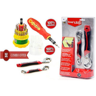 Combo of Snap N Grip Wrench Set And Jackly 31 In 1 Screwdriver Set