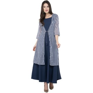 Gfashion's Navy Blue Crepe Long Kurti with Chiffon shrug.