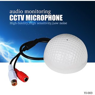 Tech Gear CCTV Microphone Golf Ball Shape Audio Pickup Device High Sensitivity DC6V-12V Audio Monitoring Sound Device