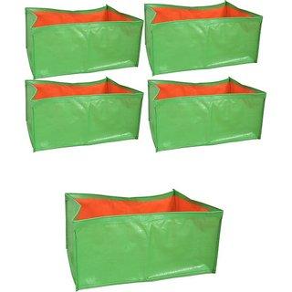 HDPE Grow bags 5 Nos  size 18 x 12 x 9  inch Terrace/Kitchen Garden