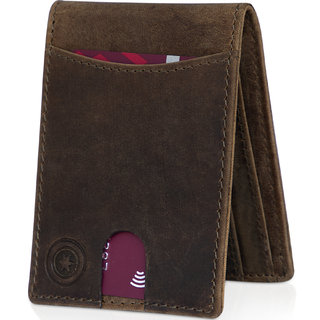 POLLSTAR Ultra Slim Genuine Leather Wallet Minimalist Card Wallet for Men with Gift Box (WL703BN)