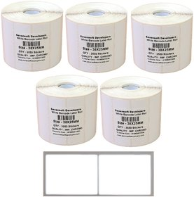 Sevensoft Developers 38X25MM Barcode Label (2X1 INCH) (3550 Labels) Self-adhesive Paper Label (White) Set of 5