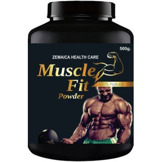 Muscle Fit Herbal Powder For Weight  Muscle Gain Orange Flavour (500Gm Powder) Pack Of 1