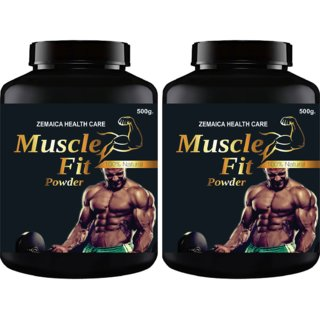 Muscle Fit Herbal Powder For Weight Muscle Gain Chocolate Flavour (500Gm Powder Each) Pack Of 2