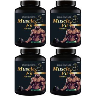 Muscle Fit Herbal Powder For Weight Muscle Gain Chocolate Flavour (500Gm Powder Each) Pack Of 4