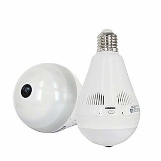 Tech Gear Hidden Spy Bulb Shape Fisheye 360 Panoramic Wireless IP CCTV Security Camera with SD Card Slot