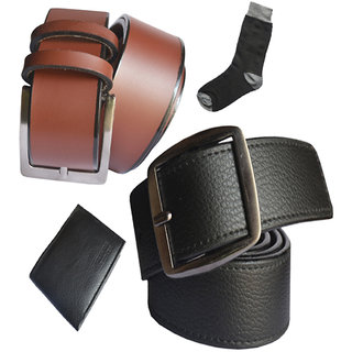 Sunshopping Men's Black And Brown Formal Belts With Wallet And Socks Combo(Pack Of Four) (Synthetic leather/Rexine)