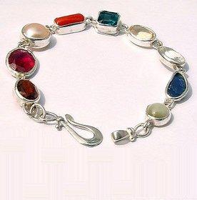 Jaipur Gemstone Natural navaratna Silver Bracelet 100 original certified navgrah Stone
