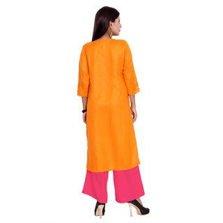 Women's Designer Cotton Round Neck Printed with Handwork Kurti Size- M