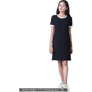 0392264cf6039 Buy Black T-Shirt Dress Half Sleeve Round Neck Dress Online - Get 60% Off