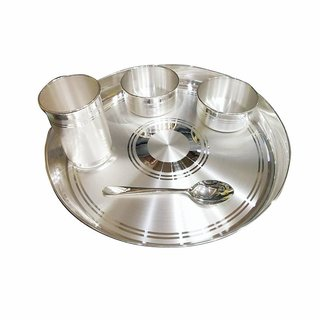 Maa Silver Dinner Set (1 Thali -12inch 2 Bowls 1 Glass & 1 Spoon with 97% Purity)