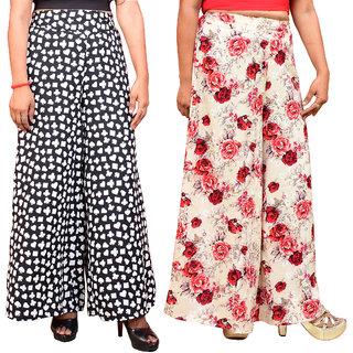 Lili Women's Wide Leg High Elastic Waist Floral Print Crepe Palazzo Pants Pack Of 2
