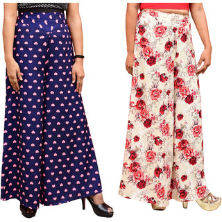 Lili Women's Wide Leg High Elastic Waist Floral Print Crepe Palazzo Pants Pack Of 2