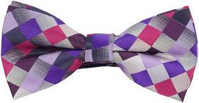 69th Avenue Men's Multicoloured Polyester Checks Printed Free Size Bow Tie