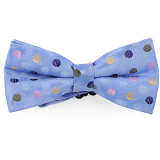 69th Avenue Men's Blue Polyester Polka Dot Printed Bow Tie