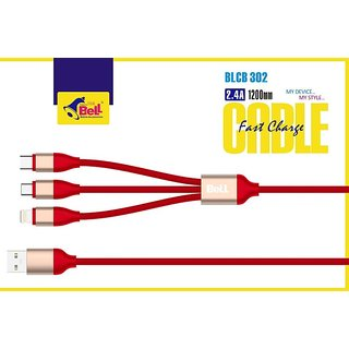 BELL 3 In 1 PREMIUM UNBREAKABLE FAST CHARGING 2.4Amp DATA CABLE Micro USB / Lightening 8 pin / Type c Red Cables
