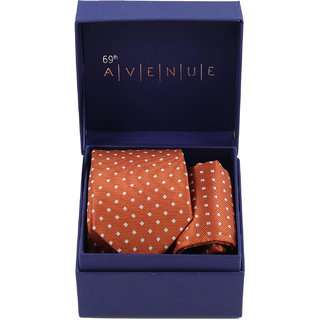 69th Avenue Orange Polyester Neck Tie and Pocket Square Gift Set for Men