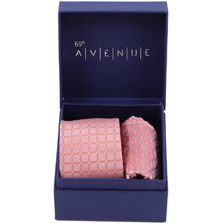 69th Avenue Pink Polyester Neck Tie and Pocket Square Gift Set for Men