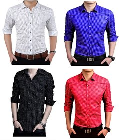 US Pepper Royal, White, Black & Red Dotted Satin Shirts
