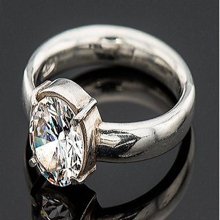 100 Original  Natural White  Zircon Stone IGL Lab Certified  Zircon Silver Plated Ring