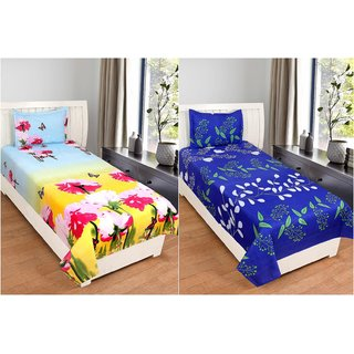 Trendz Home Furnishing Glace Cotton 2 Single Bedsheet  With 2 Pillow Cover