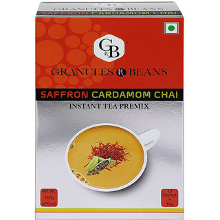 Granules and Beans SAFFARON Cardamom Instant Tea Premix - (10 Sachetx14gm140gm)