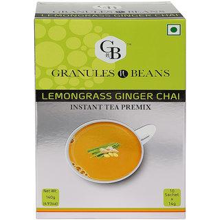 Granules and Beans Lemongrass Ginger Instant Tea Premix - (10 Sachetx14gm140gm)