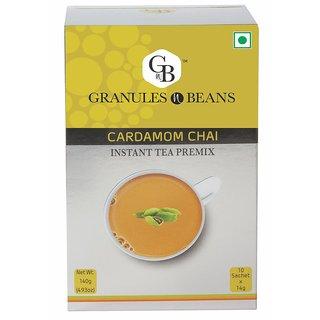 Granules and Beans Cardamom (Elaichi) Instant Tea Premix - (10 Sachet x 14gm140gm)