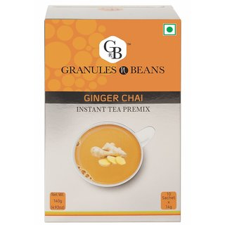 Granules and Beans Ginger (Adrak) Instant Tea Premix - (10 Sachetx14gm140gm)