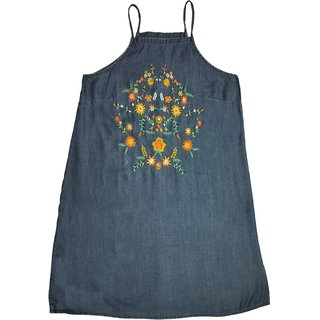 Beautiful Ladies Denim  Medium Blue Soft Washed With Lovely Colorful Embroidery On Front Yoke