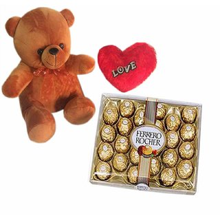 Loops n Knots Valentine's Day Gift Combo- Cute Brown Teddy Bear, Red Heart with Ferrero Rocher Chocolates 24 Pcs