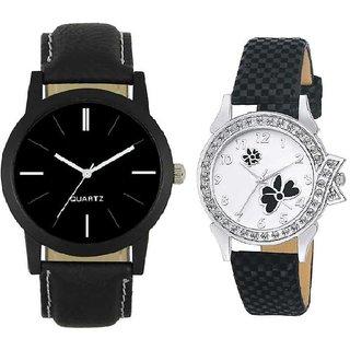 New Lorem Black Leather With Fancy Black Looking Stylist Analoug Combo Watch For Men  Women's Watch