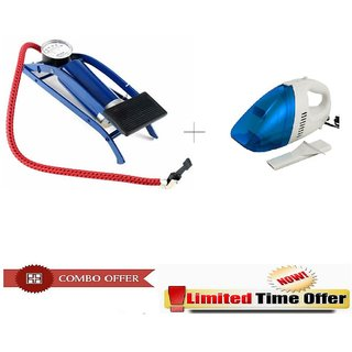 Special Combo Offer! Multi-Purpose Car Air Foot Pump with Portable Car Vacuum Cleaner - CMFOTCRV3