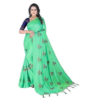 Florence Green Silk Embroidered Saree With Blouse