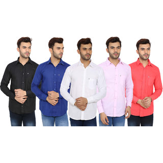 29K Men's Multicolor Pack of 5 Casual Shirts