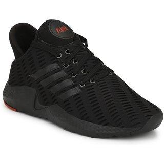 Afrojack Men's Black Original Air Series Mesh Lace-up Running/Gymwear Shoes