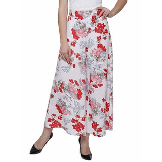 Lili Women's Wide Leg High Elastic Waist Floral Print Crepe Palazzo Pants Regular and Plus Size